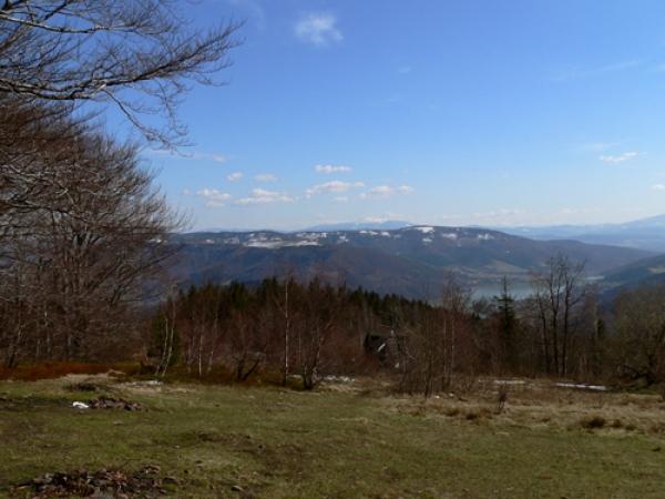 Widok z polany w stronę wschodniej części Beskidu Małego